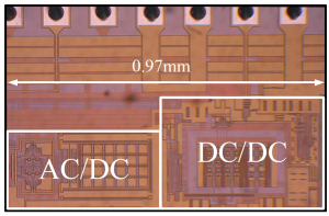 Multiple-input power management IC in 0.25 micron CMOS combines inputs from different energy harvesting sources such as vibration (AC/DC converter) and photovoltaics (DC/DC).