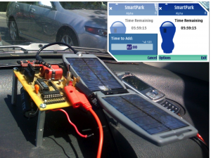 Retired mobile phone reused as an electronic parking tag with solar power. (Inset) Parking app screenshot.