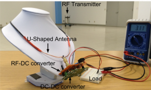 RF energy harvesting necklace test setup.